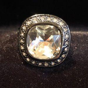 Hematite and rhinestone ring